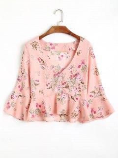 Blouse Florale Demie-Boutonnée à Volant - Rose PÂle S