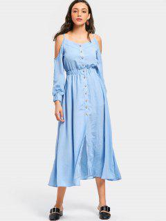 Button Up Cold Shoulder Cami Dress - Light Blue S