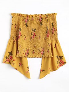 Floral Smocked Off Shoulder Blouse - Mustard S
