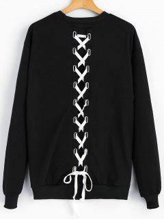 Lace Up Drop Shoulder Crew Neck Sweatshirt - Black S