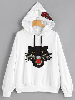 Tiger Face Patched Floral Sequined Hoodie - White L
