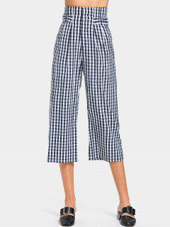 High Waist Embellished Checked Capri Pants - Checked M