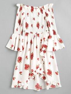 Smocked Off Shoulder Asymmetrical Mini Dress - White S