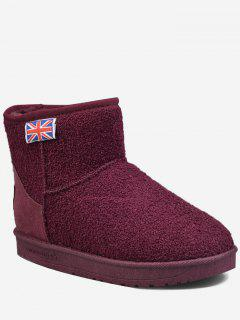 The Union Jack Slip On Snow Ankle Boots - Wine Red 39