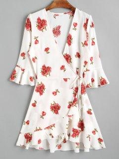 Floral Asymmetrical Wrap Mini Dress - White S