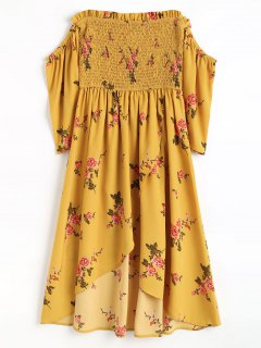 Smocked Floral Cold Shoulder Asymmetrical Dress - Mustard S