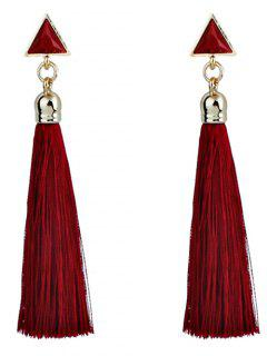 Triangle Tassel Ethnic Drop Earrings - Red