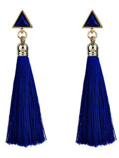 Triangle Tassel Ethnic Drop Earrings - Blue