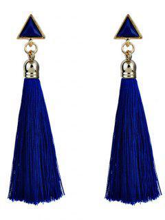 Triangle Tassel Ethnic Drop Earrings - Blue