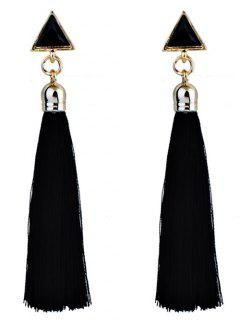 Triangle Tassel Ethnic Drop Earrings - Black