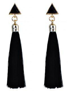 Triangle Tassel Ethnic Drop Earrings - Black