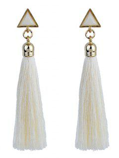 Triangle Tassel Ethnic Drop Earrings - White
