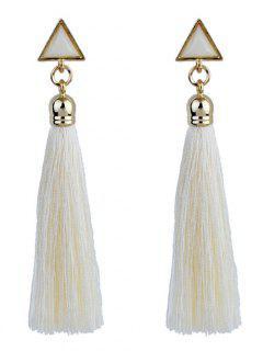 Triangle Tassel Ethnic Drop Earrings - Blanco