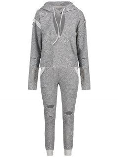 Keyhole Heathered Hoodie With Ripped Pants - Light Gray S