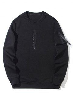 Utility Pocket Crew Neck Sweatshirt - Black M