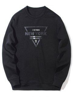 Crew Neck New York Graphic Sweatshirt - Black M
