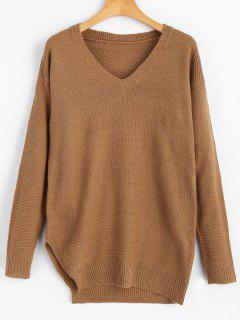 V Neck Drop Shoulder Side Slit Sweater - Brown Xl