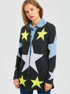 Cardigan étoile Ouvert à L'avant Contrasté - Gris Foncé