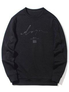 Mens Crew Neck Graphic Sweatshirt - Black L