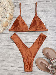 Padded High Cut Thong Bikini Set - Brown L