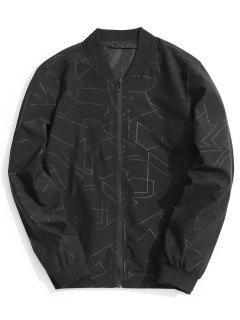 Abstract Print Bomber Jacket - Black M