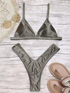 Padded High Cut Thong Bikini Set - Espresso S