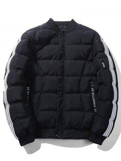 Striped Sleeve Quilted Jacket - Black 3xl