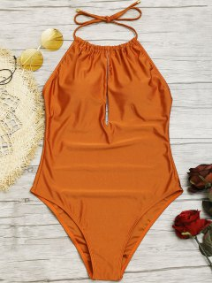 Cutout Shiny High Neck Swimsuit - Brown L