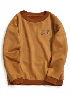 Crew Neck Graphic Suede Sweatshirt - Brown L
