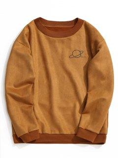 Crew Neck Graphic Suede Sweatshirt - Brown S
