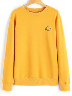 Casual Crew Neck Planet Sweatshirt - Mustard L