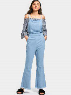 Criss Cross Frayed Hem Bootcut Denim Overalls - Light Blue S