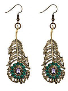 Alloy Feather Leaf Bohemian Hook Earrings - Green