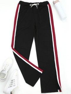 Slit Wide Leg Gestreifte Sportliche Hose - Schwarz S