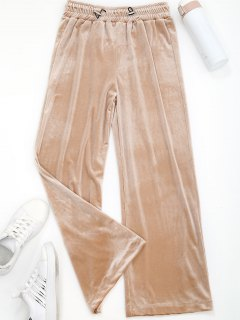 Wide Leg Velvet Drawstring Sporty Pants - Apricot S