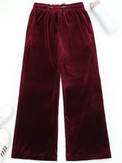 Wide Leg Velvet Drawstring Sporty Pants - Wine Red S