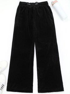 Wide Leg Velvet Drawstring Sporty Pants - Black S