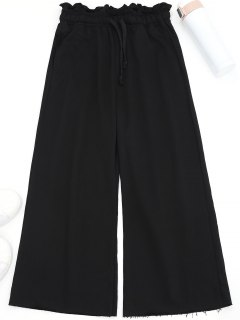 Drawstring Wide Leg Pants - Black L