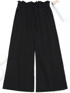 Drawstring Wide Leg Pants - Black S