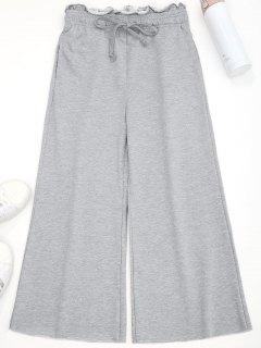Drawstring Wide Leg Pants - Gray S