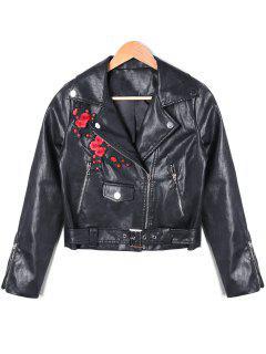 PU-Leder-Blumen-bestickte Reißverschluss-Biker-Jacke - Schwarz L