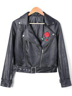PU Leather Floral Embroidered Zip Fly Biker Jacket - Black L