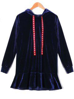 Stars Drawstring Velvet Hooded Drop Waist Dress - Deep Blue Xl