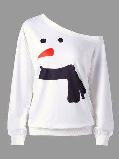 Christmas Plus Size Snowman Skew Collar Sweatshirt - White Xl