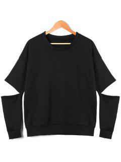 Slit Elbow Sweatshirt - Black Xl