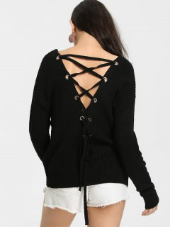 Back Lace Up V Neck Pullover Sweater - Black