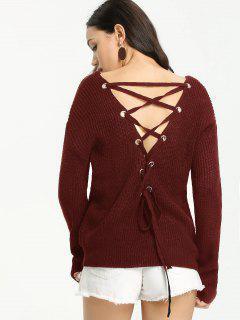 Back Lace Up Suéter Con Cuello En V - Vino Rojo