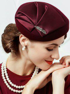 British Style Leaf Embellished Artifical Woll Fedoras Pillbox Hat - Wine Red