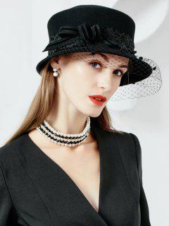 Side Knot Embellished Artificial Wool Fedoras Pillbox Hat - Black