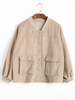 Flap Pockets Corduroy Jacket - Apricot